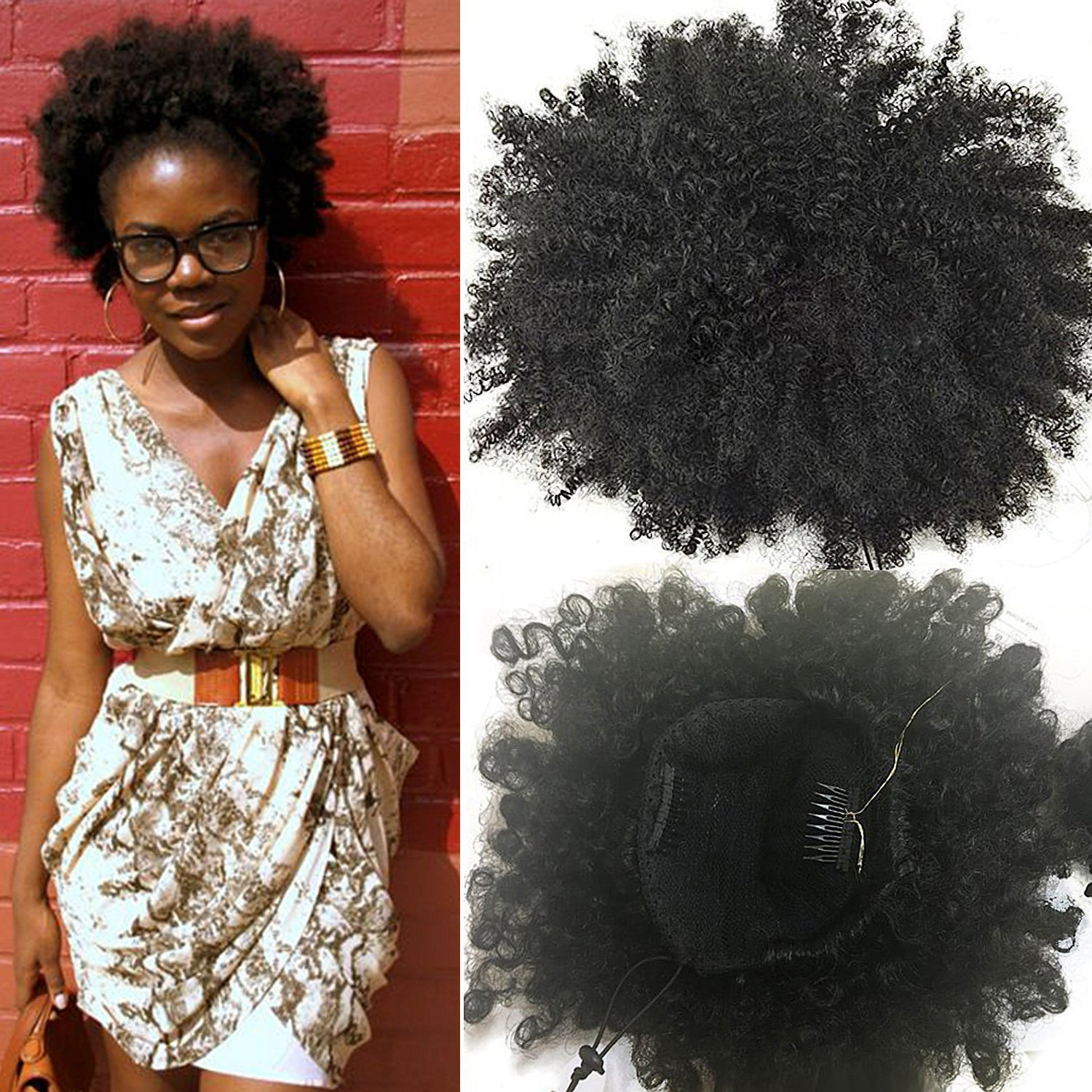 Buy Klaiyi Fashion Natural Ponytail African American Afro Short