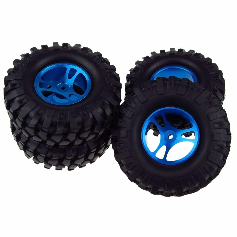 4PCS 1/10 Racing Climbing 108mm Tyre RC Tires & Aluminum Wheels for Rock Crawler Blue