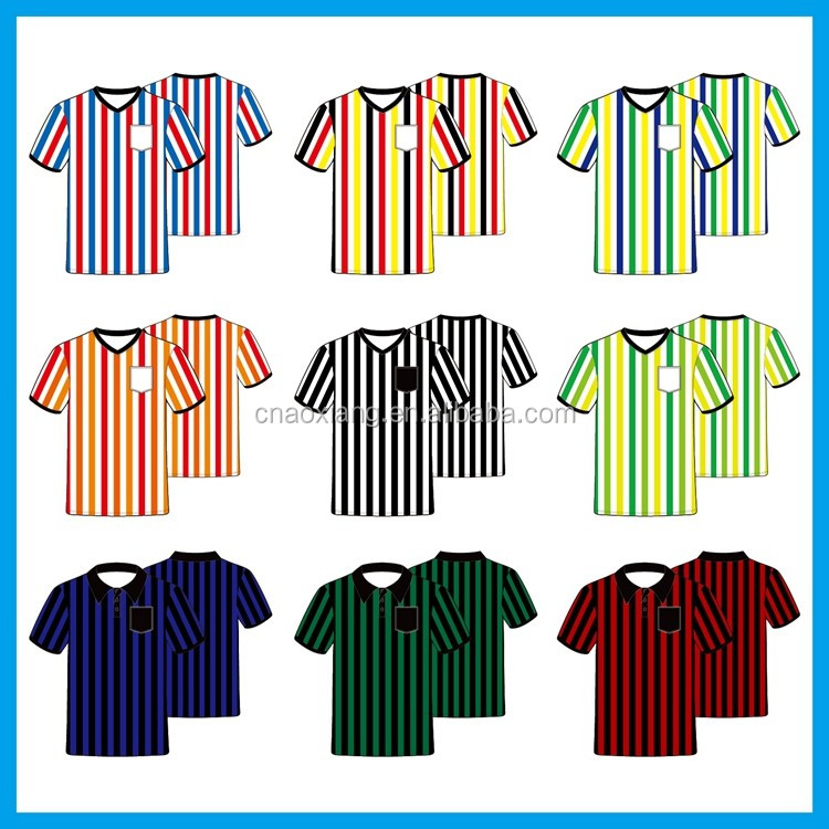 2017 New style plus size dry fit striped soccer referee jersey for club