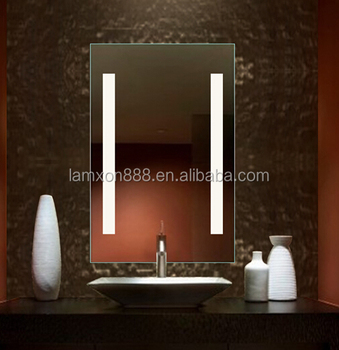Classic USA Hotel Vanity Mirror Bathroom With Vertical LED Strip Lighting