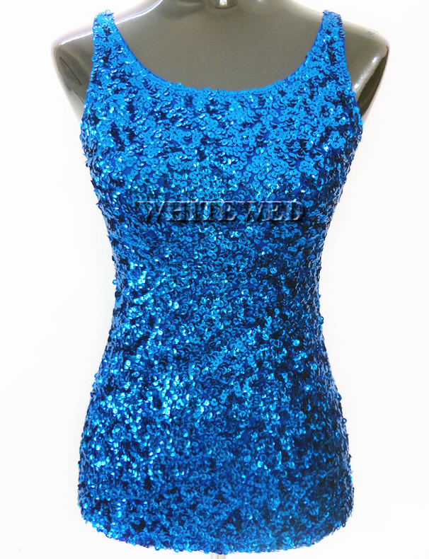 04a52599ba Buy Sparkly Glitter Sequin embellished knitted slim scoop tank top ...