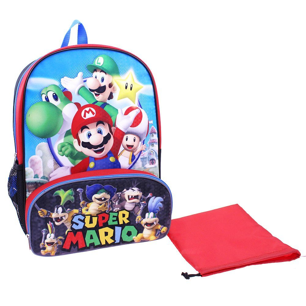Super Mario Brothers 16 Inch Backpack with Insulated Lunch Pocket