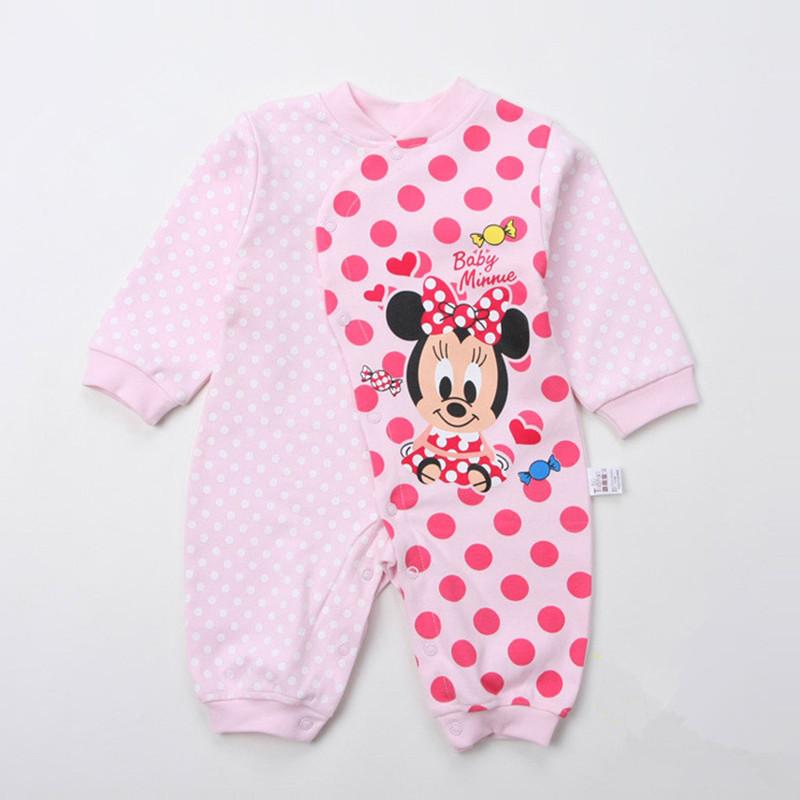Baby Girl Romper Spring Autumn Summer Cotton Mickey Minnie 2016 Newborn Cartoon Baby Romper Long Sleeve Boy Children Clothes