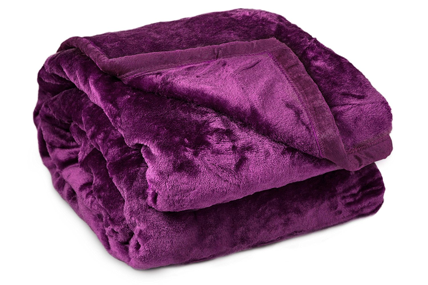 Archangel Reversable 2Ply Twin Solid Mink Blanket - Purple