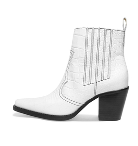 29a445e408b 2019 Ladies Block Heel White Slip on Mid Heel Short Red Patent Square Toe  Texas Ankle Boots Brown Crocodile Print Cowboy Booties