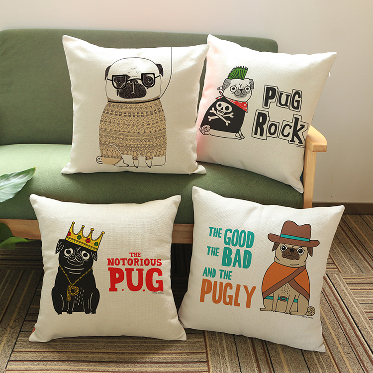 Factory outlets cartoons Pug rock Pattern printing Luxury home Decorate Car sofa seat cushion cushions pillow Free shipping