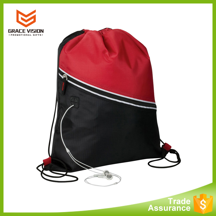 Wholesale Waterproof Nylon Drawstring Bag With Zipper