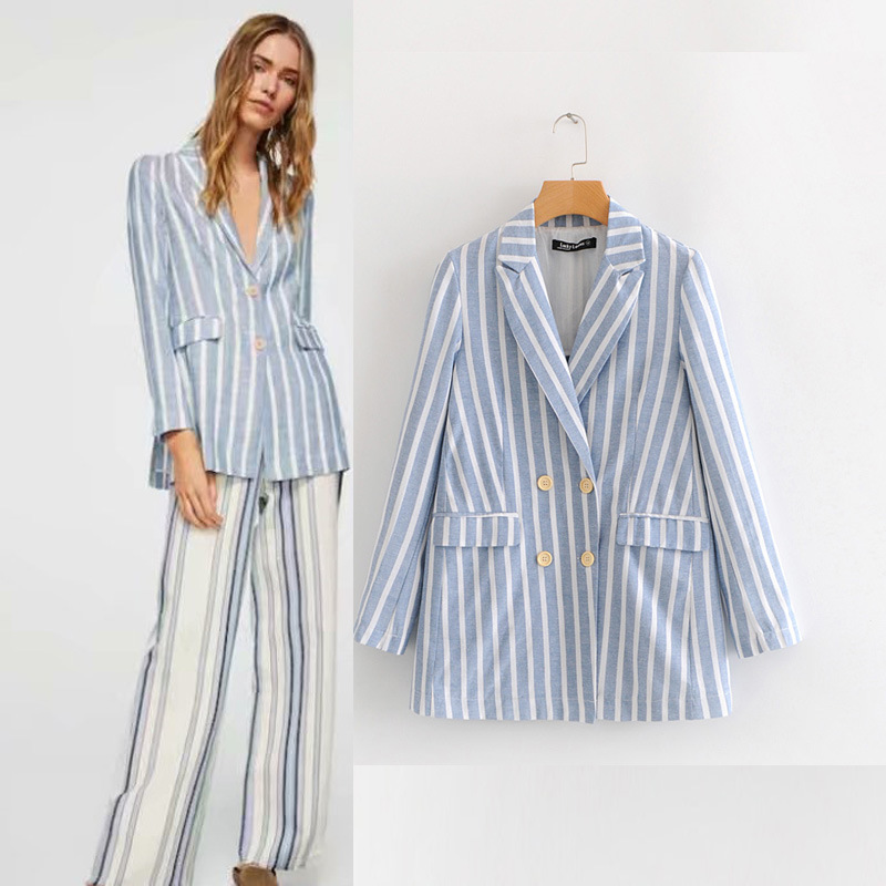 Latest Designs Fashion Ladies Suit Casual Blazer formal causal summer linen blazer striped Business Suit For Women tops Tuxedo фото