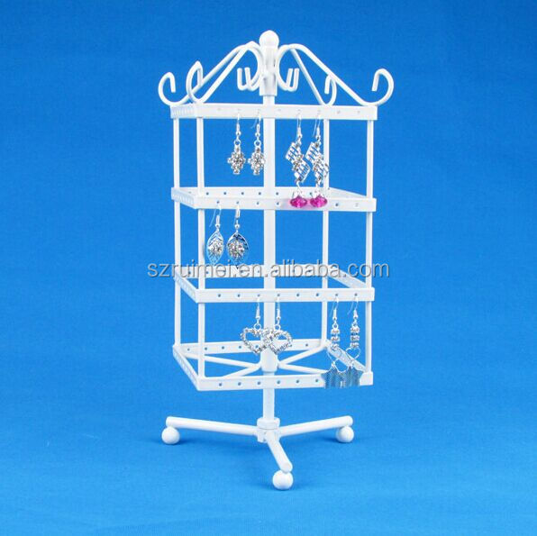 High Quality White Rotating Metal Earring Display Stand Holder Rack For 128 Holes