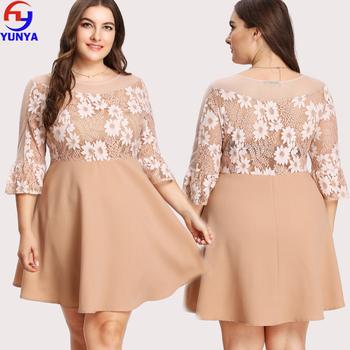 2018 Fat Women Dresses Designs Fashion Ladies Summer Lace Flounce