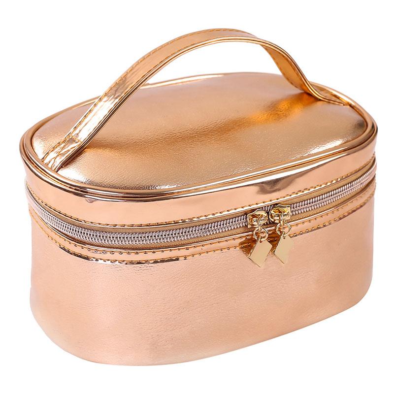 Artgimen Rose Gold Makeup Bag Wristlet Organizer Fashion Toiletry Cosmetic Product On