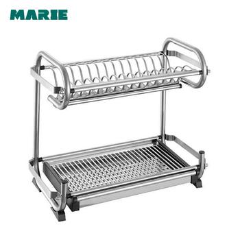 Stainless Steel Kitchen Dish Rack Plate Rack Dish Storage 2 Tier