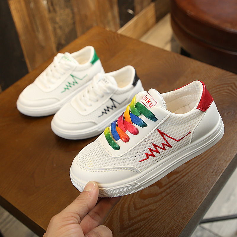 2019 new summer white shoes boy girls breathable mesh children sports casual shoes