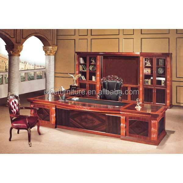 Antique Solid Wood Executive Office Furniture For Boss Luxury Desk Ia007