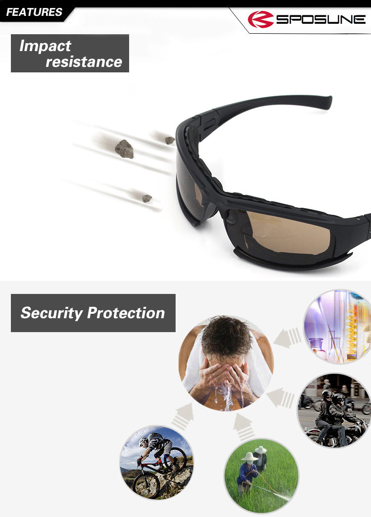China Factory Polarized Impact-resistance ANSI Airsoft ballistic sunglasses military goggles