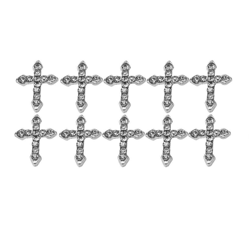Beautiful 10 Pcs Silver Shiny 3D Cross Alloy Glitter Rhinestones Nail Art <font><b>Tips</b></font> and <font><b>Home</b></font> ,Cellphone Case ,Card DIY <font><b>Decoration</b></font>