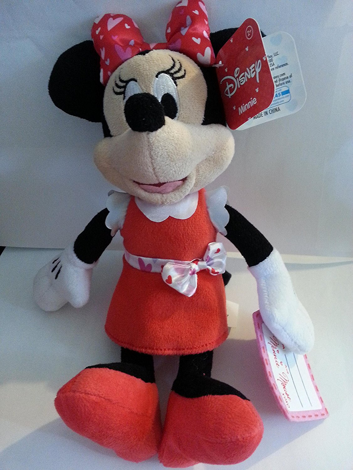 """Disney Minnie Mouse Plush 9"""" Red Dress Hearts Valentines Day"""
