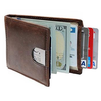 2dc8da47d8f47e Mens RFID Blocking Genuine Leather Money Clip Slim Minimalist Wallet Made  with Genuine Leather