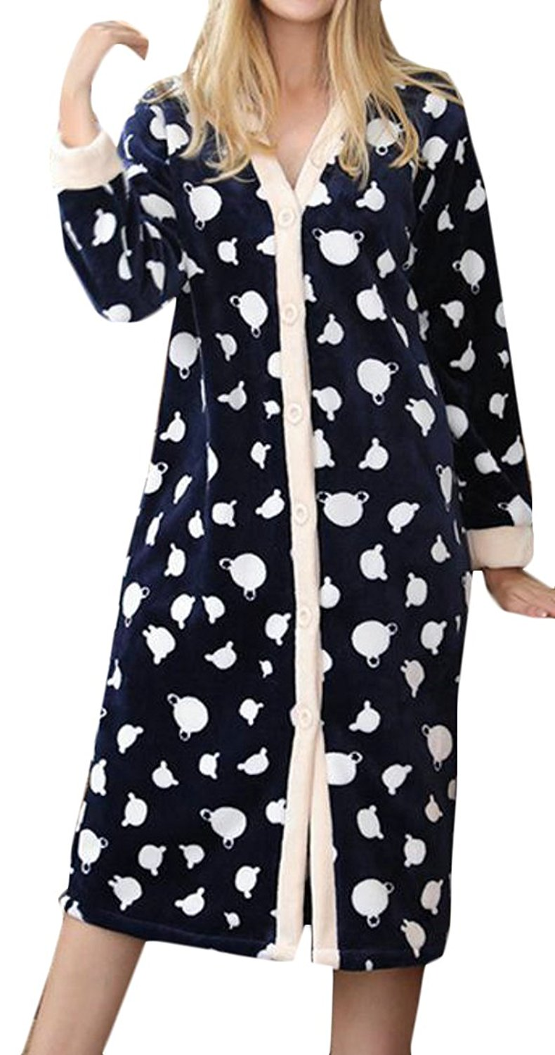 Get Quotations · Papijam Womens Flannel Printed Button Warm Nightgowns  Pajama Dresses 4c41bef0a