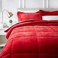 Red color micromink sherpa bedding comforter sets luxury