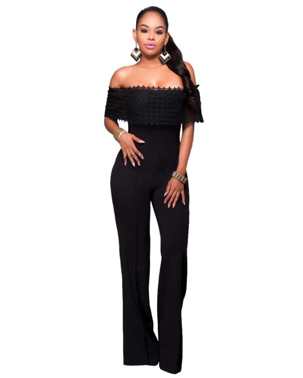 12909081ad3 Women Ruffles Lace Party Jumpsuit Sexy Black White Off Shoulder Wide Leg  Long Playsuit Fashion Side Zipper Macacao Feminino