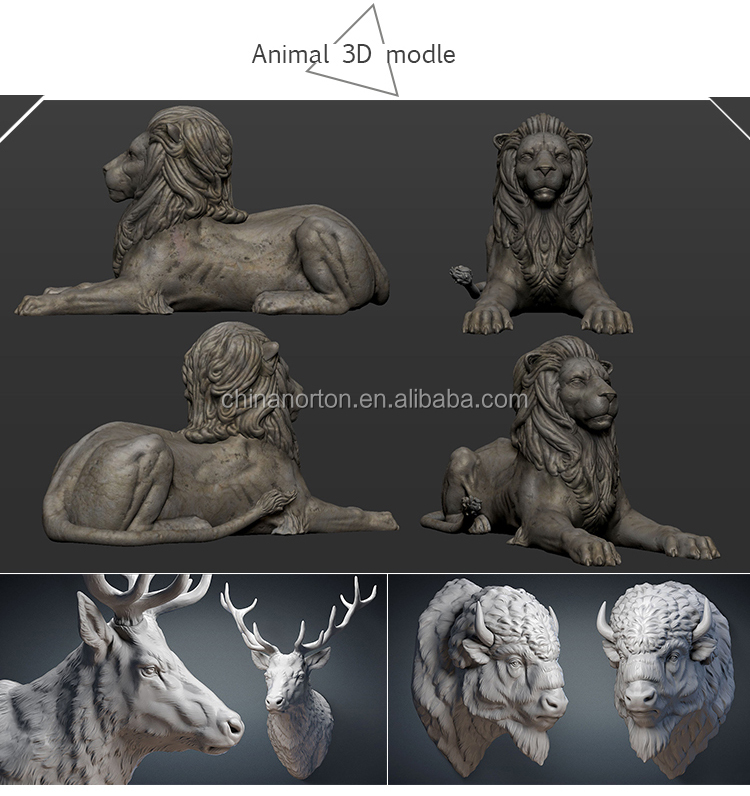 Hand carved life size garden decor marble lion statues NTBA-003Y