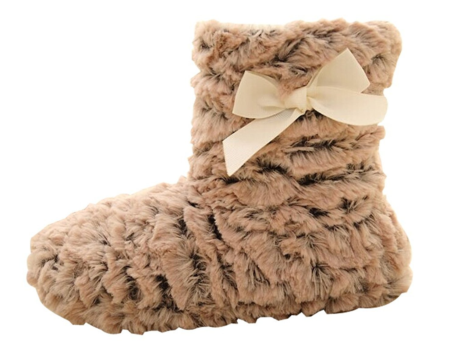 048c9f875eee1 Get Quotations · Cattior Womens Fleece Soft Comfy Slipper Boots Fuzzy  Slippers