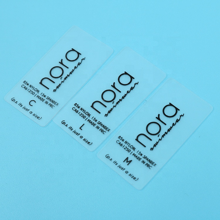 Hot Sale Customized Silk Screen Printing Size Logo Small Transparent Clear TPU Labels for Swimwear, Follow pantone color chart