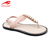 New beaded design summer ladies PVC footwear women flat sandals