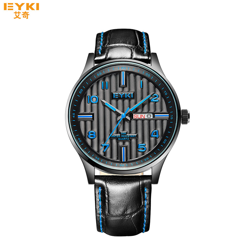 Luxury Men Military Watches Famous EYKI Brand Auto Date Waterproof Leather Quartz Watch