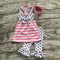 2016 girls baby Summer pink and gray outfit striped polka dot clothes boutique ruffle capris bow matching necklace and headband