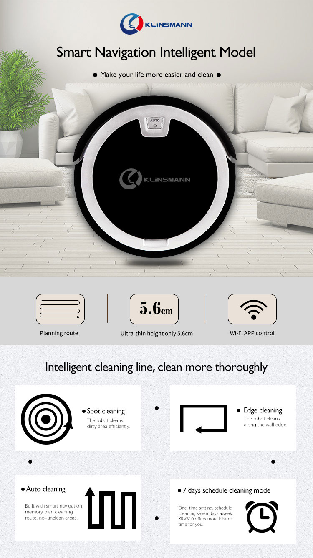 2D Map Navigation & Smart Memory Smart Phone WIFI APP Control Ultrathin 5.6cm Intelligent Robot Vacuum Cleaner