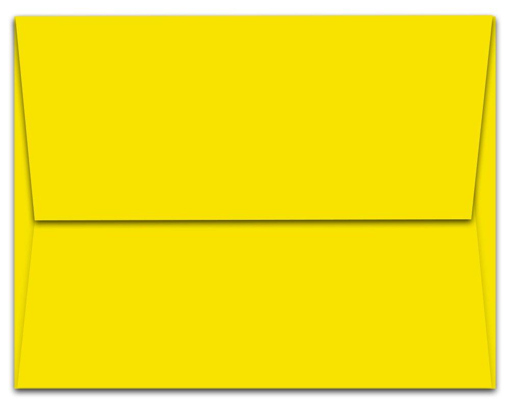 """100 Yellow A7 Envelopes - 7.25"""" x 5.25"""" - Square Flap"""
