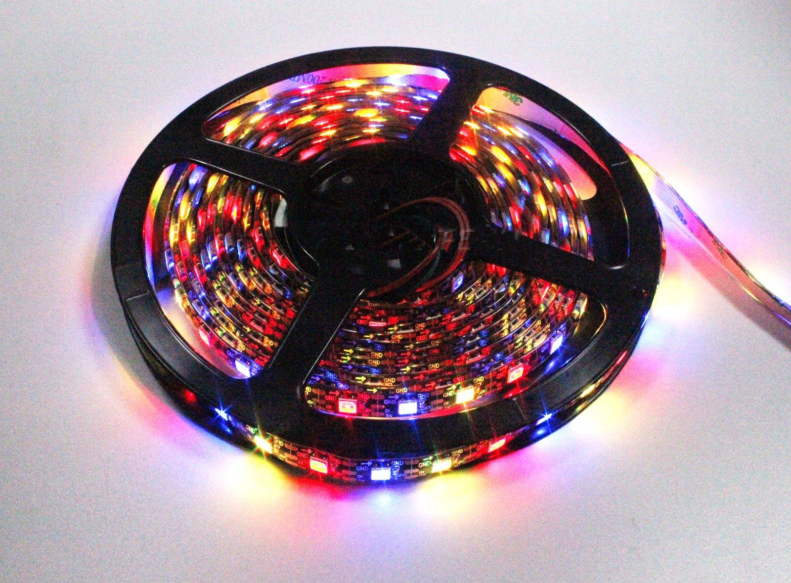 INVOLT WS2812B Individually Addressable LED Strip Light 5050 RGB 16.4ft 300 LED Pixel Flexible Lamp Rope Waterproof IP65 Black PCB DC 5V