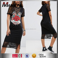 2017 Fashionable Girl Casual Loose Fit Short Sleeves Printed Pattern Tshirt Dressed Rock Printing Lace Insert Midi T-Shirt Dress