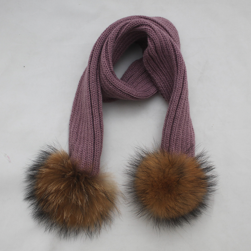 Myfur Classic Ribbed Pattern Knit Scarf for Kids with Two Big Size Natural Raccoon Fur Pom Poms