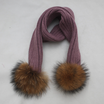 Myfur Classic Ribbed Pattern Knit Scarf For Kids With Two Big Size