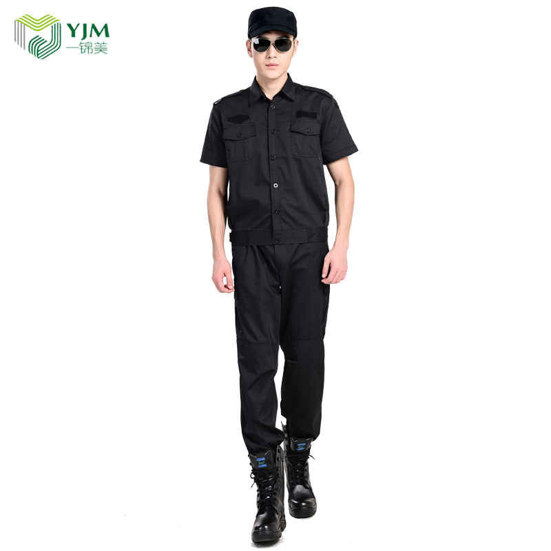 Wholesale cheap factory OEM work uniforms security training clothing black