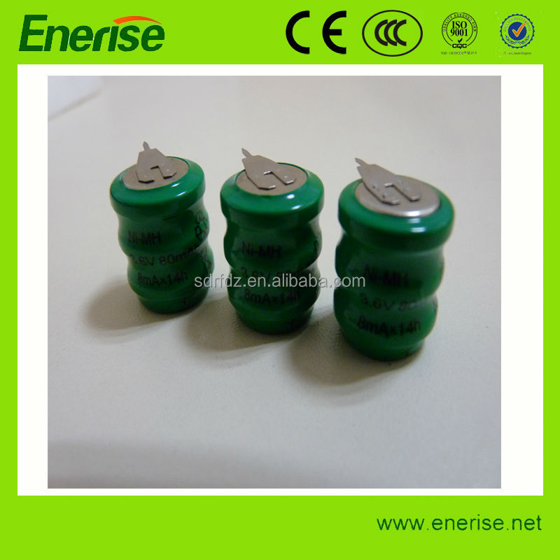 3.6V 80mAh NhiMH Button Cell Battery for Electronic Products
