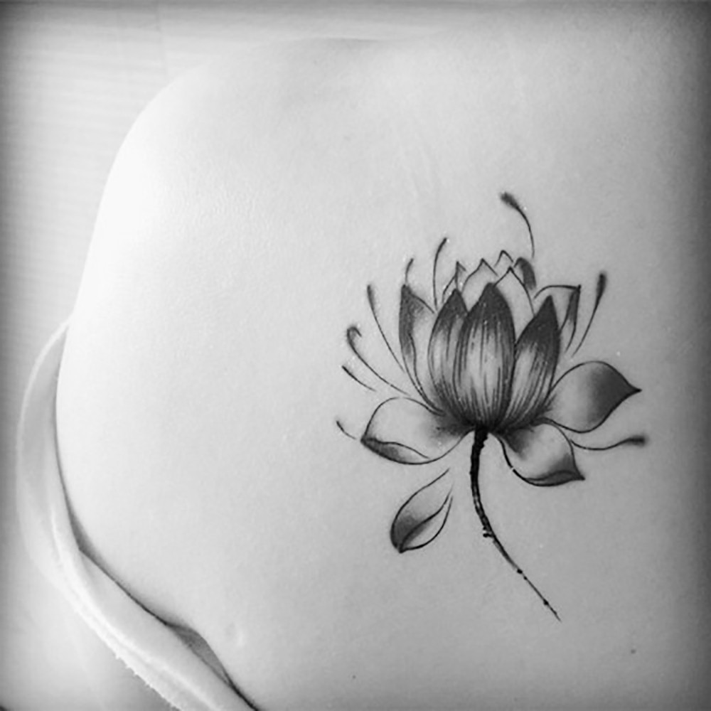 Body Art Waterproof Temporary Tattoos For Men And Women Beautiful 3d Lotus Flower Design Small Tattoo Sticker Wholesale Hc 167