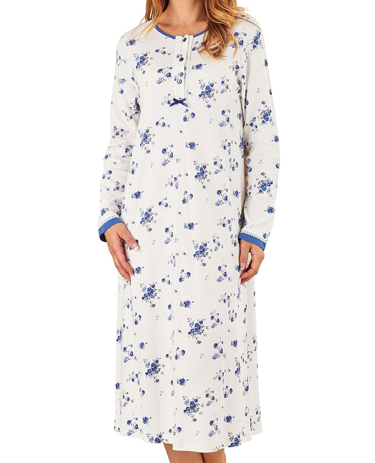e601592793 Get Quotations · Slenderella Ladies Floral Nightdress Long Sleeved Jersey  Cotton Lace Trim Nightie (Blue or Pink)