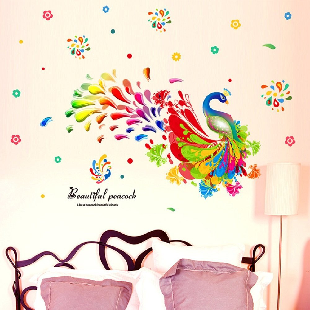 a75d1427829 Amaonm® Cute Cartoon Lovely Colorful Beautiful Peacock Wall Decal Removable  PVC DIY Animal Birds home