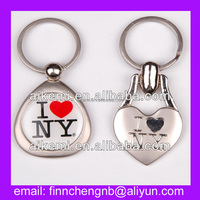 I Love New York city name custom made metal keychain,souvenir gift custom shaped metal keychain,promotion blank metal keychains