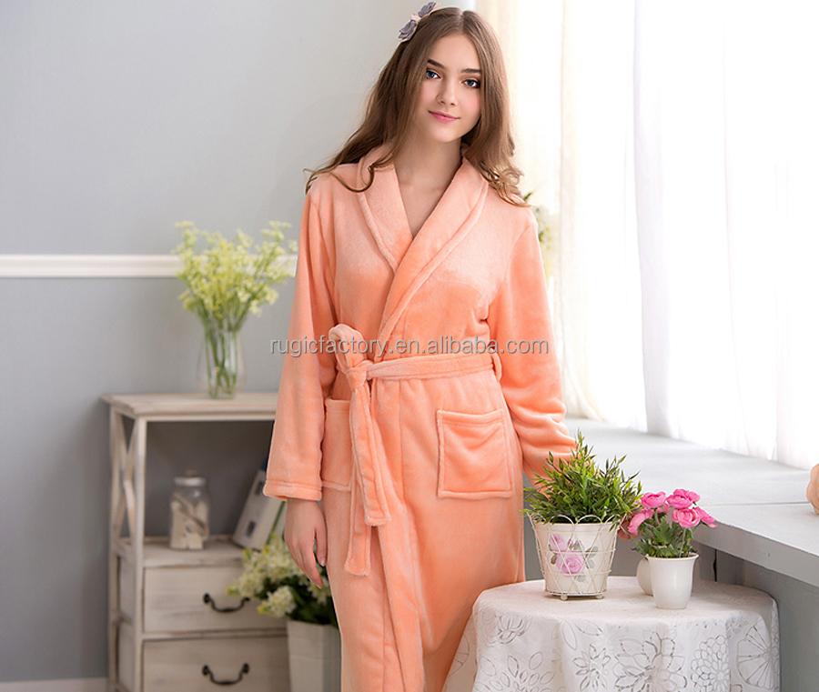 Ladies Luxury Full Length Dressing Gown,Bath Robe,Flannel Collar ...