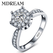 Round cut 925 silver Ring with Platinum plated cubic zirconia romantic fantastic classic rings jewelry for Engagement