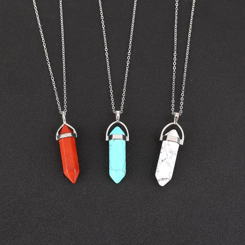 Natural Quartz Crystal Point Chakra Healing Gemstone Pendant Necklace wholesale