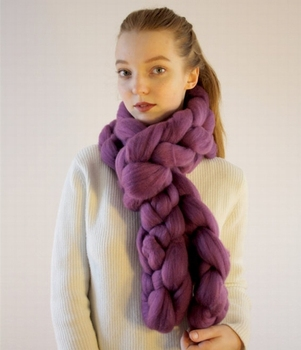 edac8d37acea8 S3450 new 2018 winter chunky knit handmade plain thick long braided wool  scarf for women girls