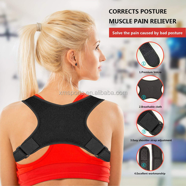 Full Adjustable Elastic Straps Comfortable Posture Corrector Back Support Brace to Improve Posture for Lower and Upper Back Pain