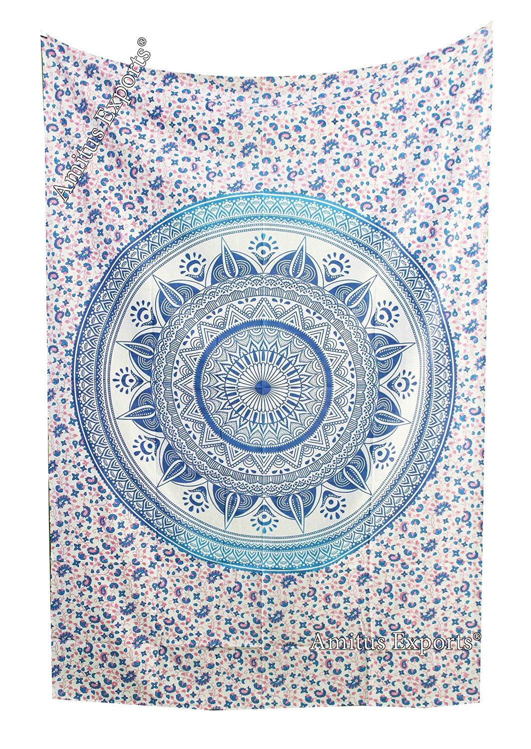 """Amitus Exports 1 X Dome Ombre 80""""X53"""" Approx. Inches Blue Pink With White Background Color Cotton Fabric Multi-Purpose Handmade Tapestry Hippy Indian Mandala Throws Bohemian Tapestries"""