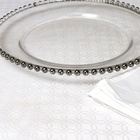 clear round silver beaded glass charger plates free shipping in the USA